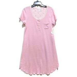 Miss Elaine Knit Lace-Trim Striped Nightgown-Pink
